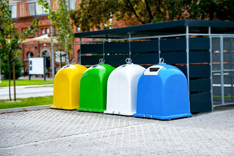 Wertstoffcontainer Gelb, Grün, Weiss und Blau